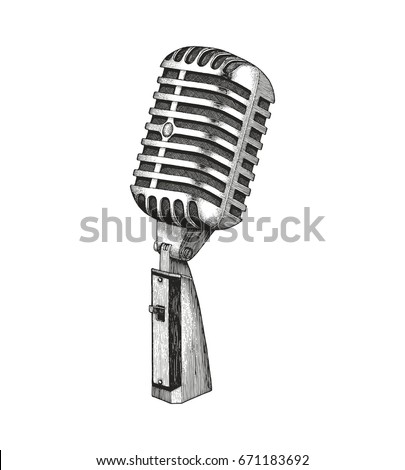 vintage microphone hand drawing
