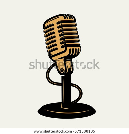 vintage microphone icon isolated on white background. Design elements for logo, poster, emblem, sign. Vector monochrome illustration