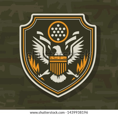 Vintage military colorful insignia with eagle on weapons background isolated vector illustration