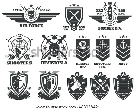 vintage military vector labels
