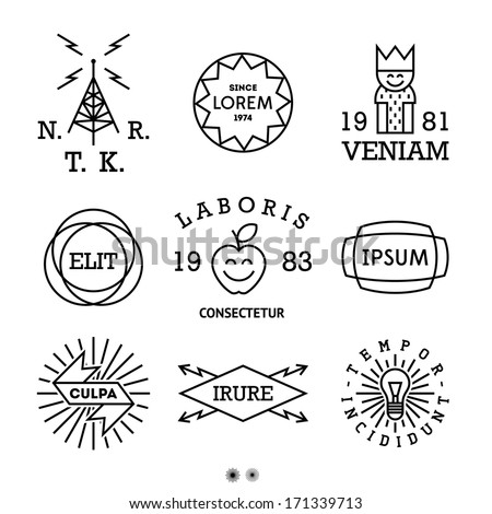vintage minimal labels with king, shield