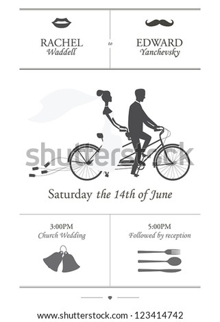 Vintage minimalistic wedding invitation with bride and groom riding tandem bicycle dragging cans