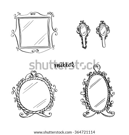 vintage mirrors doodle style ...