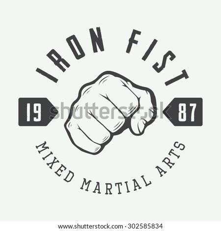 Vintage mixed martial arts logo, badge or emblem. Vector illustration