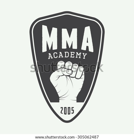 Vintage mixed martial arts logo, badge or emblems. Vector illustration