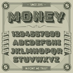 Vintage Money Font with shadow. Retro 3D Alphabet with decorative elements