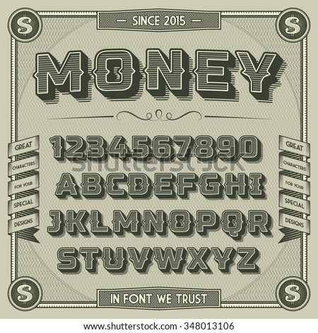 vintage money font with shadow. ...