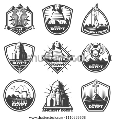 Vintage monochrome ancient Egypt labels set with pharaoh sphinx sights scarab mummy camel symbolic cross isolated vector illustration
