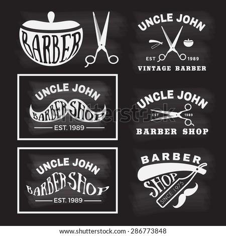 Vintage monochrome  barber shop logo, labels, badges, banner, emblem, insignia on chalkboard theme