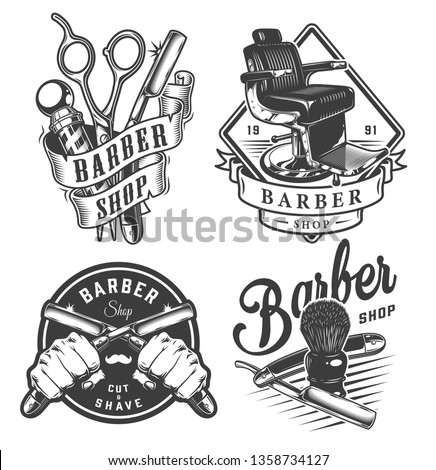 Vintage monochrome barbershop emblems with barber pole scissors comfortable chair male hands holding razors shaving brush isolated vector illustration