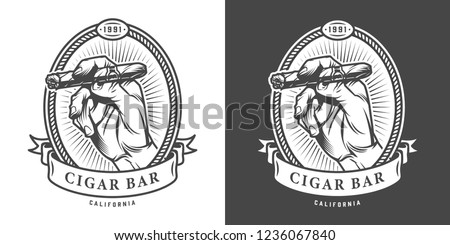 Vintage monochrome cigar bar label with male hand holding cuban cigar isolated vector illustration