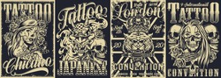 Vintage monochrome covers set with tattoo conventions and chicano style posters vector illustration