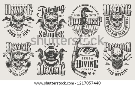vintage monochrome diving logos
