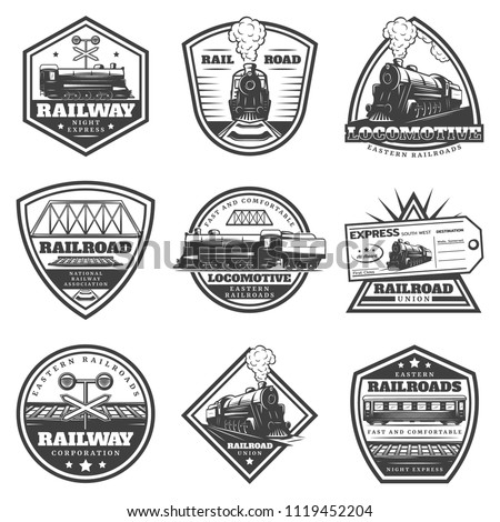 Vintage monochrome locomotive labels set with inscriptions train railway ticket wagons and traffic light isolated vector illustration