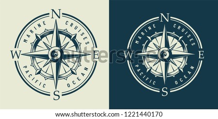 Vintage monochrome marine label with navigational compass isolated vector illustration