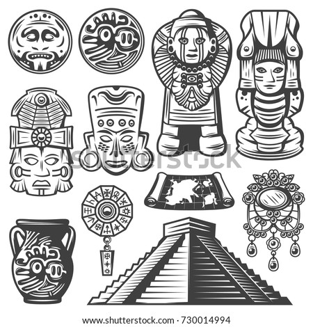 Shutterstock Vintage monochrome maya elements set with ceremonial masks totems coins mayan calendar jewelry vase map pyramid isolated vector illustration