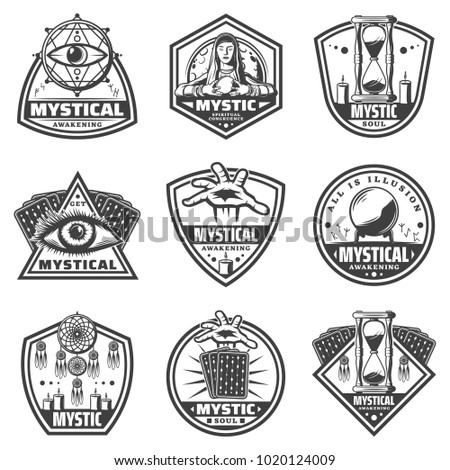Vintage monochrome mystic labels set with fortune teller moon runic letters and different magical items isolated vector illustration