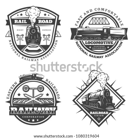 Vintage monochrome retro train emblems set with letterings locomotive railroad traffic light wagons isolated vector illustration