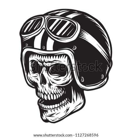 vintage monochrome skull rider