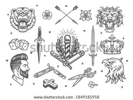 Vintage monochrome tattoos composition with angry animals heads swords hipster barber elements royal crown dice crossed arrows flowers isolated vector illustration Photo stock ©