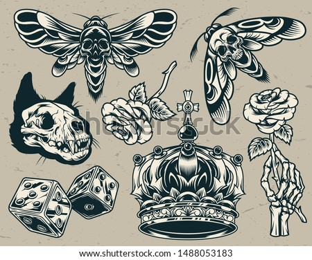 Vintage monochrome tattoos set with cat skull royal crown scary dices skeleton hand holding rose scary bee and wasp isolated vector illustration
