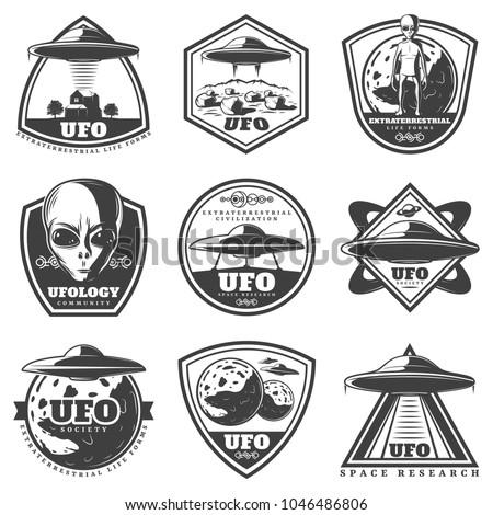 vintage monochrome ufo labels