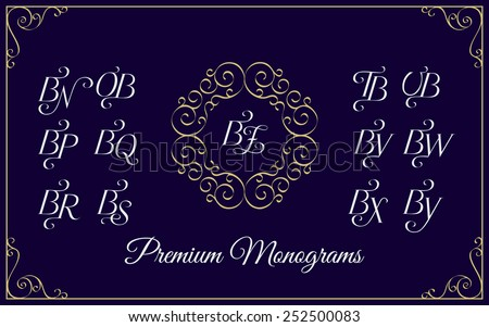 Vintage monogram design template with combinations of capital letters BN BO BP BQ BR BS BT BU BV BW BX BY BZ. Vector illustration. Zdjęcia stock ©