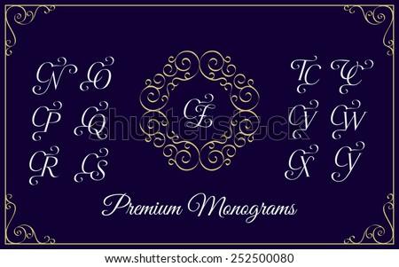 Vintage monogram design template with combinations of capital letters CN CO CP CQ CR CS CT CU CV CW CX CY CZ. Vector illustration. Zdjęcia stock ©