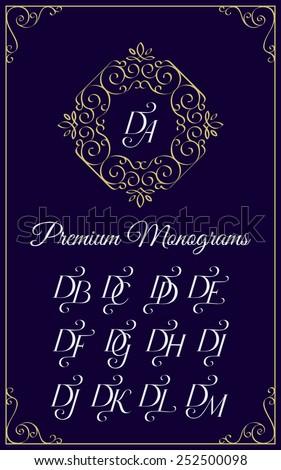 Vintage monogram design template with combinations of capital letters DA DB DC DD DE DF DG DH DI DJ DK DL DM. Vector illustration. Stock fotó ©