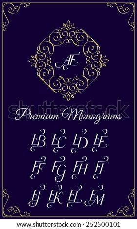Vintage monogram design template with combinations of capital letters EA EB EC ED EE EF EG EH EI EJ EK EL EM. Vector illustration. Stok fotoğraf ©