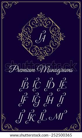 Vintage monogram design template with combinations of capital letters IA IB IC ID IE IF IG IH II IJ IK IL IM. Vector illustration. Foto stock ©