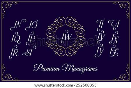 Vintage monogram design template with combinations of capital letters IN IO IP IQ IR IS IT IU IV IW IX IY IZ. Vector illustration. Stock fotó ©