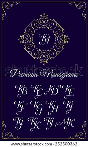 Vintage monogram design template with combinations of capital letters KA KB KC KD KE KF KG KH KI KJ KK KL KM. Vector illustration. Zdjęcia stock ©