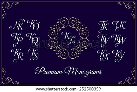 Vintage monogram design template with combinations of capital letters KN KO KP KQ KR KS KT KU KV KW KX KY KZ. Vector illustration. Stock fotó ©