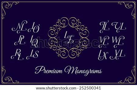 Vintage monogram design template with combinations of capital letters LN LO LP LQ LR LS LT LU LV LW LX LY LZ. Vector illustration. Stock fotó ©