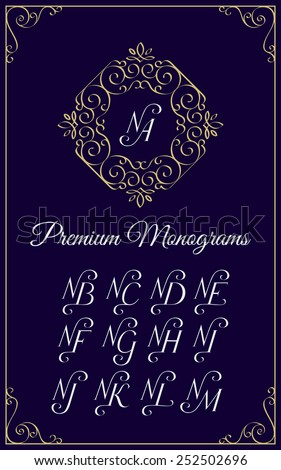 Vintage monogram design template with combinations of capital letters NA NB NC ND NE NF NG NH NI NJ NK NL NM. Vector illustration. Stock fotó ©