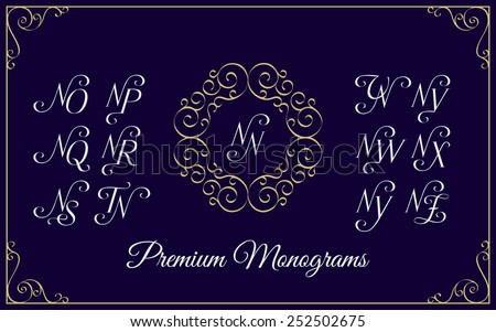 Vintage monogram design template with combinations of capital letters NN NO NP NQ NR NS NT NU NV NW NX NY NZ. Vector illustration. Stock fotó ©