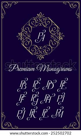 Vintage monogram design template with combinations of capital letters PA PB PC PD PE PF PG PH PI PJ PK PL PM. Vector illustration. Stok fotoğraf ©