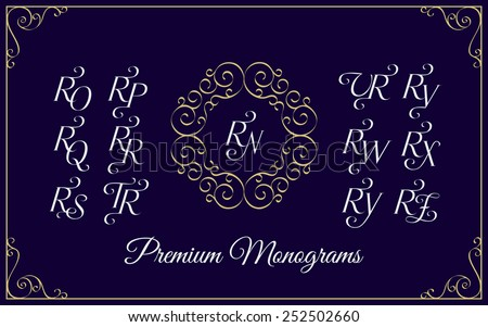 Vintage monogram design template with combinations of capital letters RN RO RP RQ RR RS RT RU RV RW RX RY RZ. Vector illustration. Zdjęcia stock ©