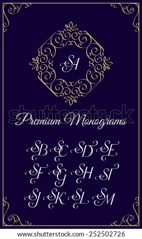 Vintage monogram design template with combinations of capital letters SA SB SC SD SE SF SG SH SI SJ SK SL SM. Vector illustration. Stok fotoğraf ©