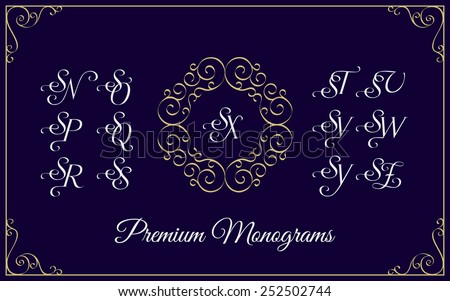 Vintage monogram design template with combinations of capital letters SN SO SP SQ SR SS ST SU SV SW SX SY SZ. Vector illustration. Stock fotó ©