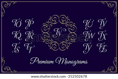 Vintage monogram design template with combinations of capital letters TN TO TP TQ TR TS TT TU TV TW TX TY TZ. Vector illustration. Stock fotó ©