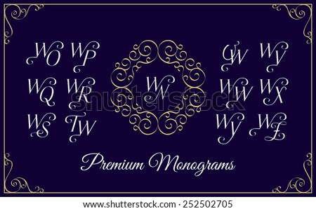 Vintage monogram design template with combinations of capital letters WN WO WP WQ WR WS WT WU WV WW WX WY WZ. Vector illustration. Zdjęcia stock ©