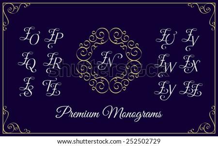 Vintage monogram design template with combinations of capital letters ZN ZO ZP ZQ ZR ZS ZT ZU ZV ZW ZX ZY ZZ. Vector illustration. Stock fotó ©