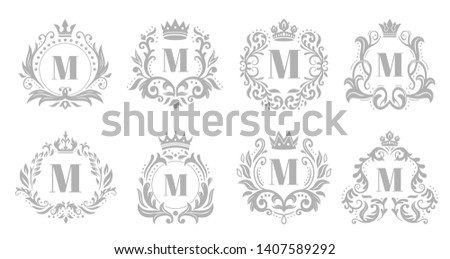 Vintage monogram emblem. Luxury ornate silver logo, heraldic monograms and old king royal crown emblems vector illustration set