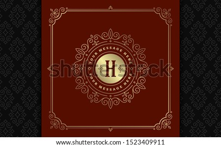 Vintage monogram logo elegant flourishes line art graceful ornaments victorian style vector template design. Classic calligraphic luxury crest royal heraldic boutique, restaurant sign and ornate frame