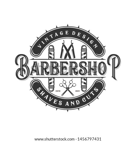 Vintage monogram logo for barbershop