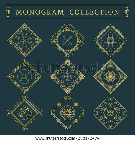 Vintage monogram set. Vector emblems for calligraphic luxury logos and retro ornamental design.