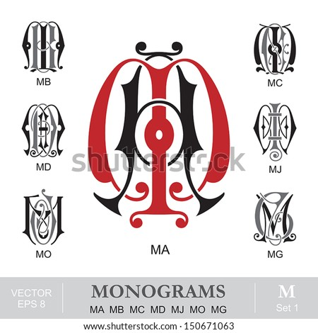vintage monograms ma mb mc md...
