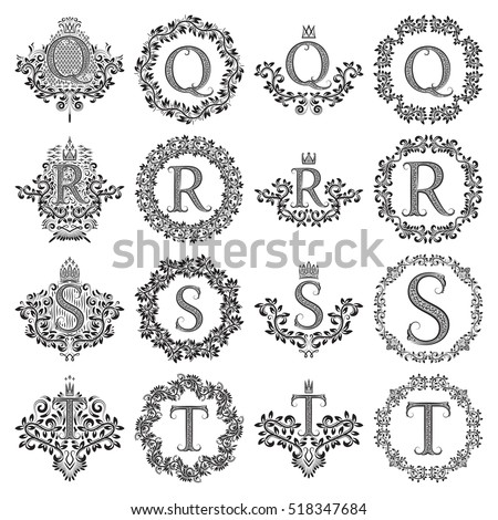 Vintage monograms set of letters Q, R, S, T. Heraldic coats of arms, symbols in floral round frames. Stock fotó ©